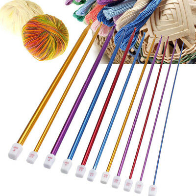 "11Pc 10.6"" 2-8mm Colourful Aluminum AFGHAN TUNISIAN Crochet Hook Knit Needles"