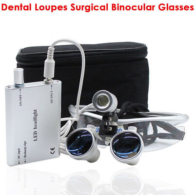 Dental Loupes Surgical Binocular Optical Glasses LED Head Light Lamp 3.5x 420mm