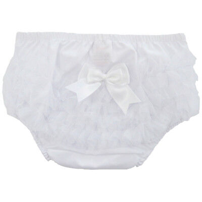 Baby Girls Pretty Satin Bow Frilly Cotton Pants/Knickers Nappy Cover