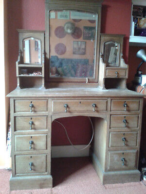 Arts and Crafts/Gothic Style Dressing Table with Mirrors
