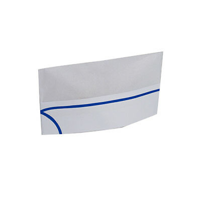 Royal Blue Stripe Overseas White Chefs Caps/Hats, Pack of 100, RPOS1