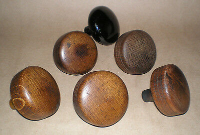 Assorted Lot of 6 Antique Door Knobs Vintage Wood & Black Porcelain