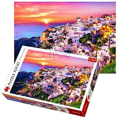 Trefl 1000 Piece Adult Large Sunset At Santorini Greece Jigsaw Puzzle NEW