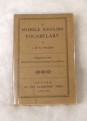 Tolkien A Middle English Vocabulary 1st Printing 1922 Lord of the Rings Hobbit