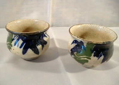 Japanese Pottery Tea Bowl Pair Hand Painted Bamboo Signed Antique Vintage