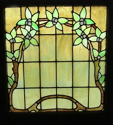 Antique Arts And Crafts Floral Window