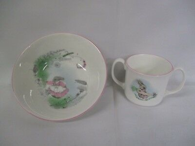 Elizabethan Mrs. Rabbit Child Bowl And Mug Set Fine Bone China England (AD)