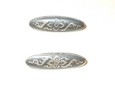 Antique pair of Sterling Silver Oval Hand decorated Floral Buttons