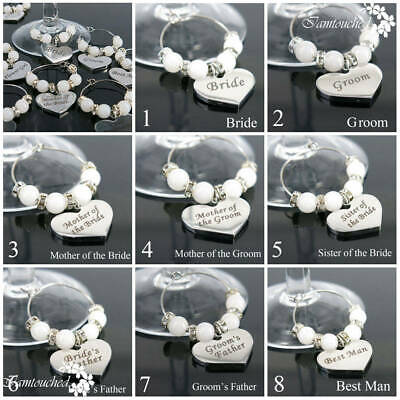 Handmade Bridal Wedding Party Champagne Wine Glass Ring Charm Marker Table Decor