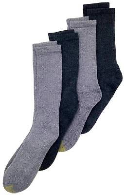 $45 GOLD TOE Men's 4-Pair Pack GRAY COTTON CUSHIONED CASUAL CREW SOCKS Size 6-12