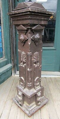 Victorian Carved Walnut Newel Post - Painted