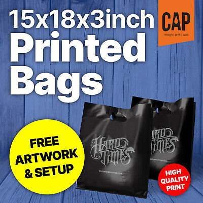 "Personalised Retail Boutique Carrier Bags | FREE ARTWORK | 15x18x3"" Plastic Bags"