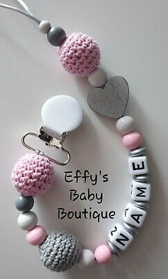 10mm Letters🖤CROCHET💗Personalised🖤Wooden Dummy Clip💗Grey🖤Pink💗Gift🖤