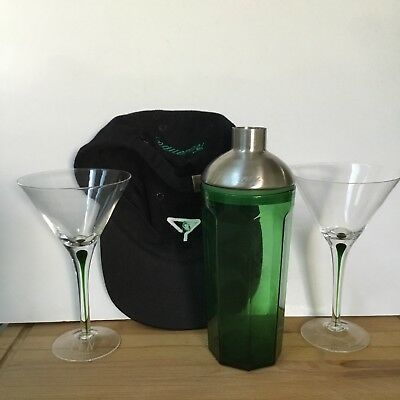 Tanqueray Shaker with Two Martini Glasses and a Hat