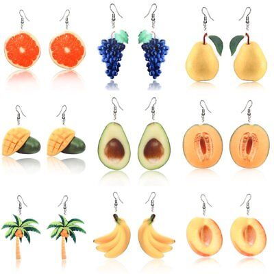 Fruit Earrings Acrylic Peach Coconut Orange Mango Cantaloupe Hook Earrings