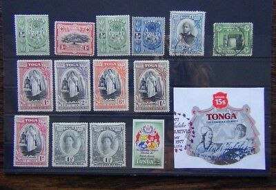 Tonga 1942 values to 6d Used 1944 6d 1s Used + others