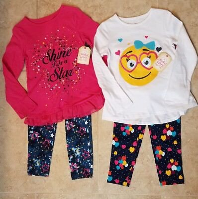 New Faded Glory Girls Long Sleeve Graphic Top & Legging Set  Choose One Size 5