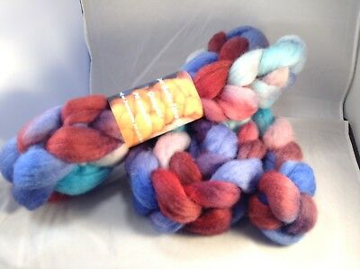 Hand Dyed Wool Fibre Roving Rosella Felting Spinning Arts & Crafts Soft