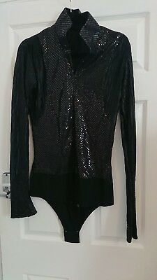 Mens Black Latin Dance Shirt Medium