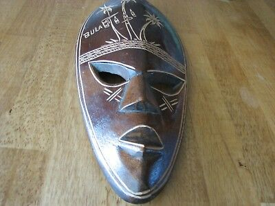 """HAND CARVED WOODEN MASK - From """"FIJI"""" in 1970's - POLYNESIAN Native Mask - F401"""