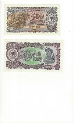 Albania 1957 Issue 500 And 1000 Lek.   Pair  Nice Unc