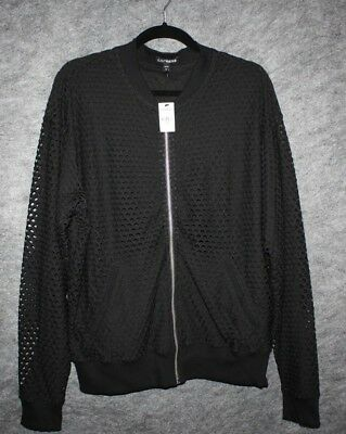 Express Womens Black Zip Jacket Fishnet Fully Lined Stretch Size L