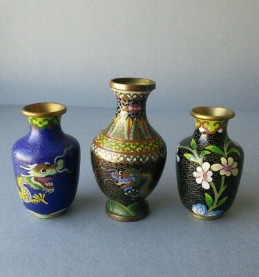 Chinese Cloisonne Miniatures Vases.
