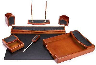 Majestic Goods 7 Piece Brown Oak with Black Eco-Friendly Leather and PU Desk Set