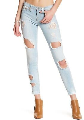 NEW True Religion Super Skinny Super Destroyed Jeans Distressed Light Wash $229