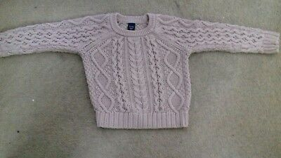baby gap girls light pink cable knit jumper age 2years g.c