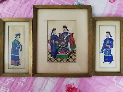 Antique 19th-century Chinese Pith Painting, Qing Dynasty