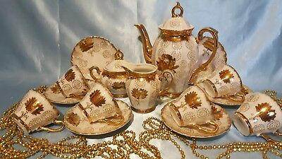 Gorgeous coffee set 15/6 pieces made in Japan Very rare! VERY beautiful!!