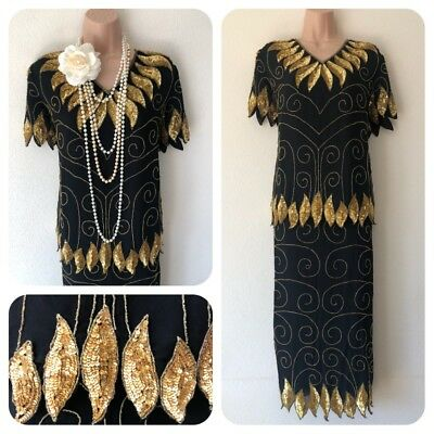 NWT Sequin Embellished Flapper Set Top Skirt Dress up 20's Gatsby Party 10-22