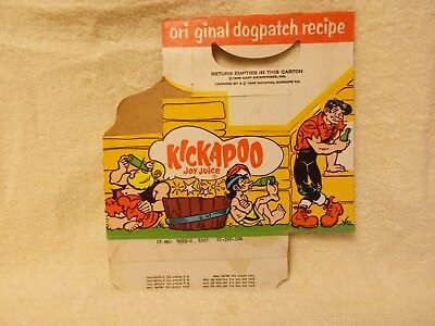 1965 KICKAPOO JOY JUICE 10 oz carton ONLY / Dogpatch comic / National NuGrape