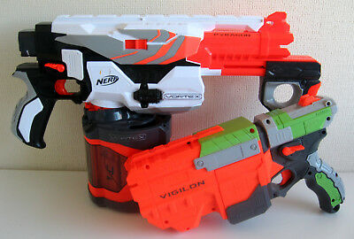 NERF Vortex Blaster Gun Bundle x2 : Pyragon with 40 Disc Drum Magazine + Vigilon