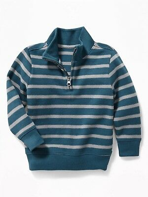 NEW/tags  Old Navy Striped French-Rib 1/4-Zip Pullover for Toddler Boys 2T  Blue