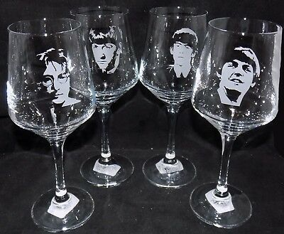 """New """"THE BEATLES"""" Etched Large Wine Glass(es) - Choose a single or whole band!"""