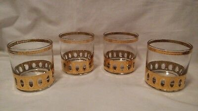 Set of 4 CULVER 22K Gold ANTIGUA Lowball Cocktail Whiskey BAR GLASSES