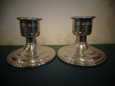 Vintage Jostens Pewter Candlestick Ge Advertising Candle Holders