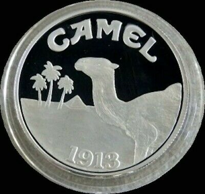 1993 SILVER PROOF 80th ANNIVERSARY OF CAMEL CIGARETTE'S COMMEMORATIVE IN CAPSULE
