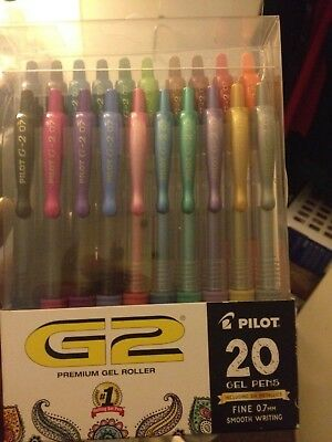 Pilot G2 Retractable Premium Gel Ink Roller Ball Pens, Fine Point, Pack of 20