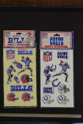 Vintage 1983 NFL Stickers: Buffalo Bills. Colts. Lot Of 2. Imperial Toy Company.