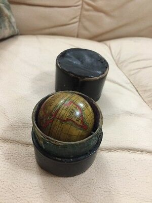 Very Rare Antique Georgian Revolving Spinning Pocket Globe In Case