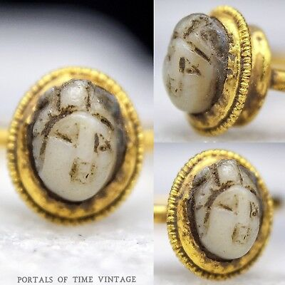 Ancient Roman Gold Chalcedony Cameo Ring c.1st Century Sz. 5 Antique Antiquity