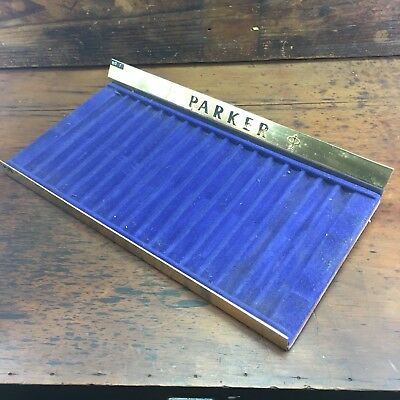 BRILLIANT c.1960's PARKER PENS POS BRASS DISPLAY STAND + EXTRA BLUE TRAY 34 PENS
