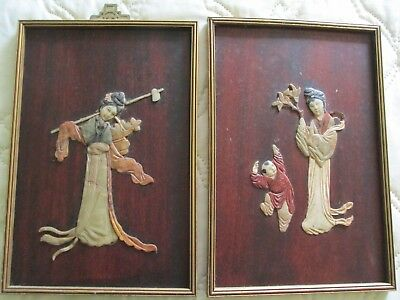 Pair of Vintage Chinese Carved Sandstone on Mahogany Figural Wall Hangings