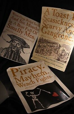 Lot Of 3 Blackbeard Pirate Posters Autographed By Ben Cherry