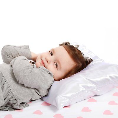 NoJo Toddler Pillow with Satin Pillowcase, White