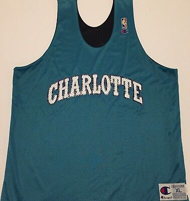 new styles d7392 110d9 VTG CHARLOTTE HORNETS Champion Practice JERSEY XL Early 90s nba reversible  RARE