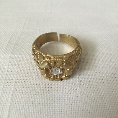 Vintage 18K G.E. Size 10.5 and Adjustable Ring with Rhinestone